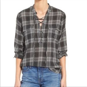 Madewell Terrace Lace Up Top in Owens Plaid